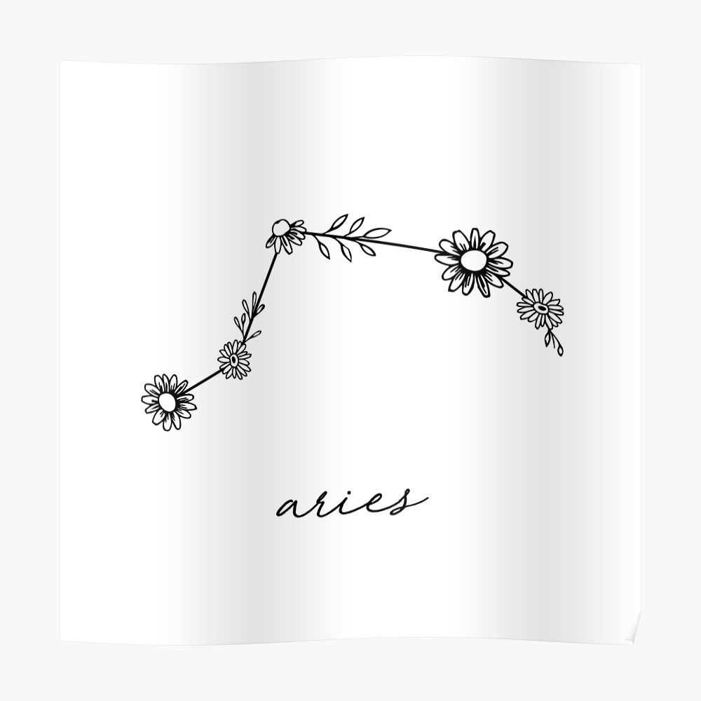 'Aries Zodiac Wildflower Constellation' Sticker by aterkaderk