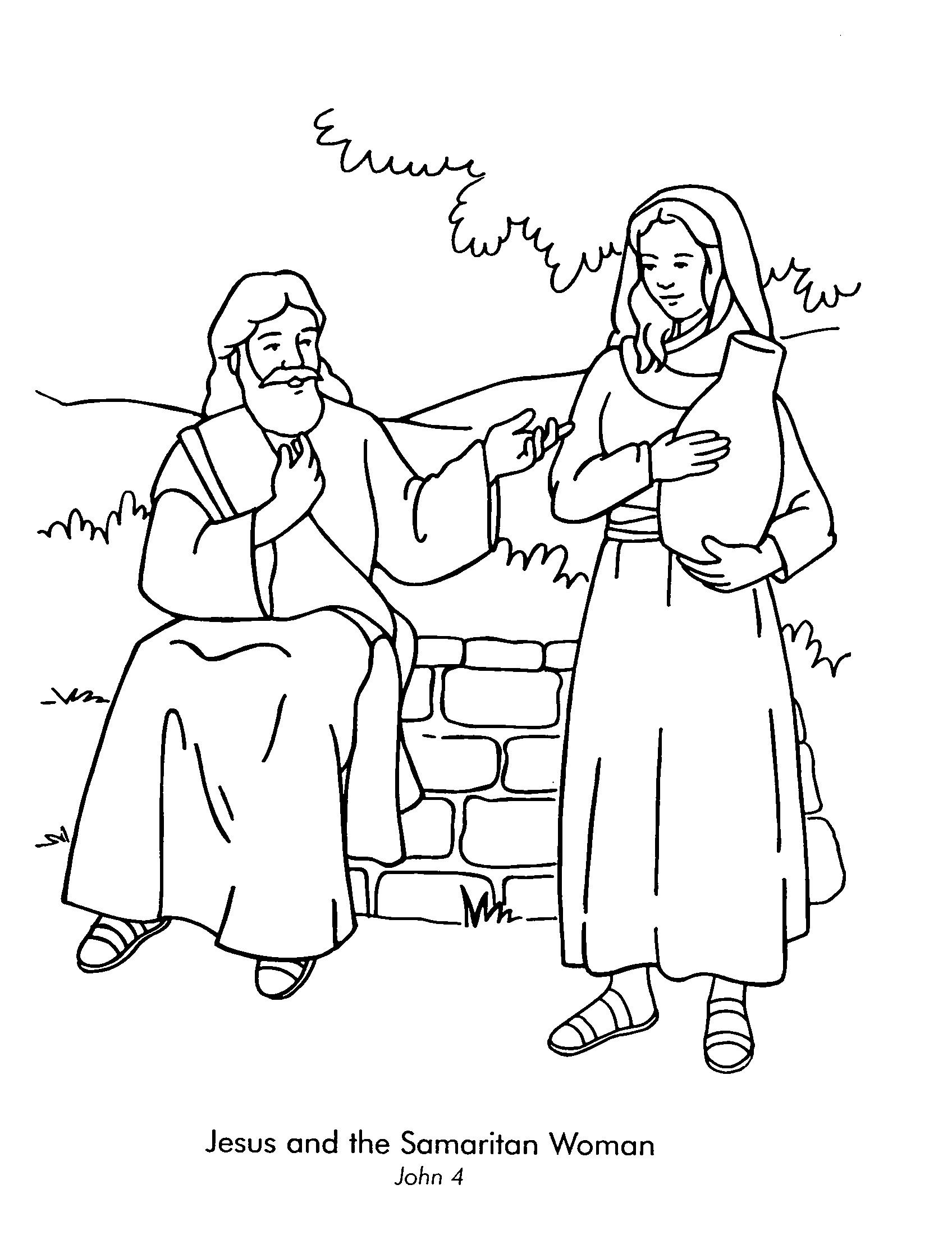 Lesson woman at the well john color page of jesus and the