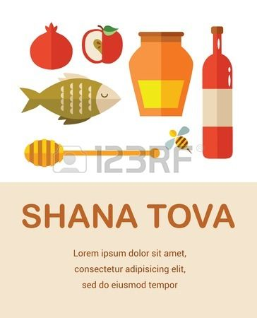 conjunto de iconos nuevos judíos año, feliz Shana Tova Feliz Año ...