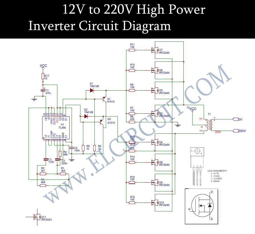 12v to 220v inverter dc to ac voltage inverter tl494 irfz44n in 2018 rh pinterest com