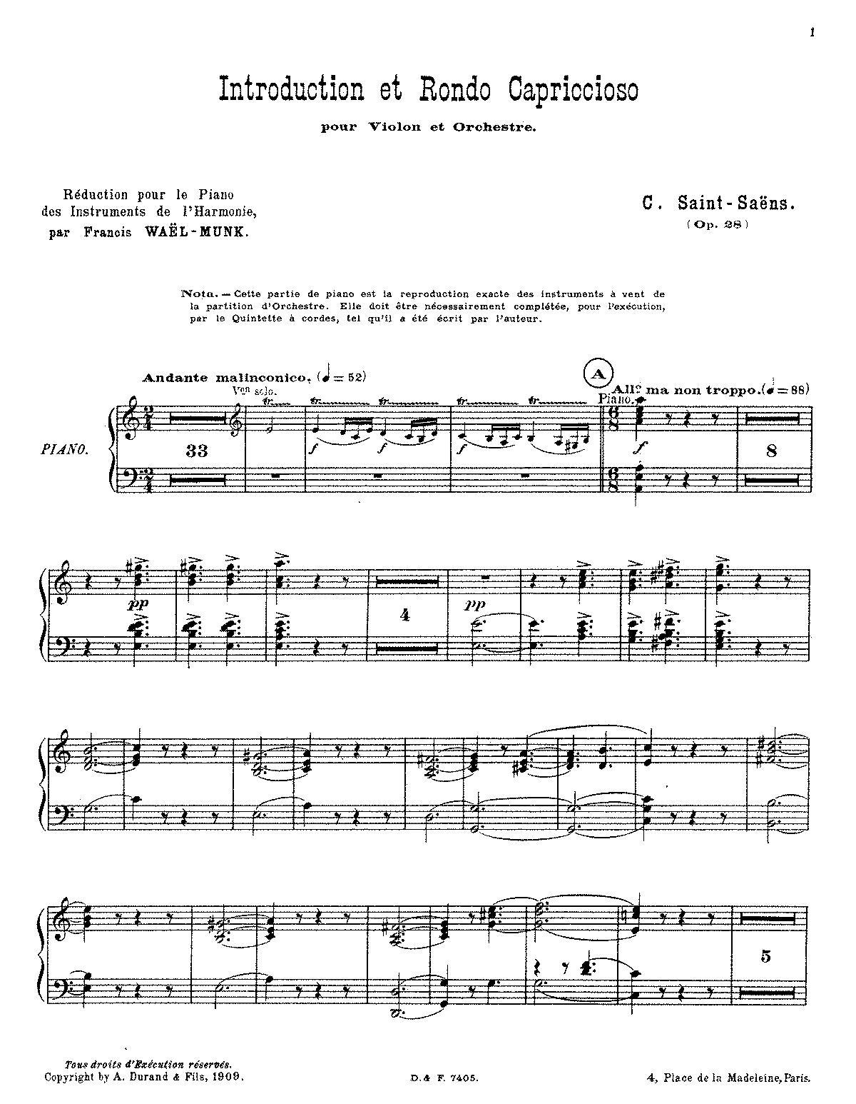 Introduction et rondo capriccioso, Op 28 (Saint-Saëns, Camille