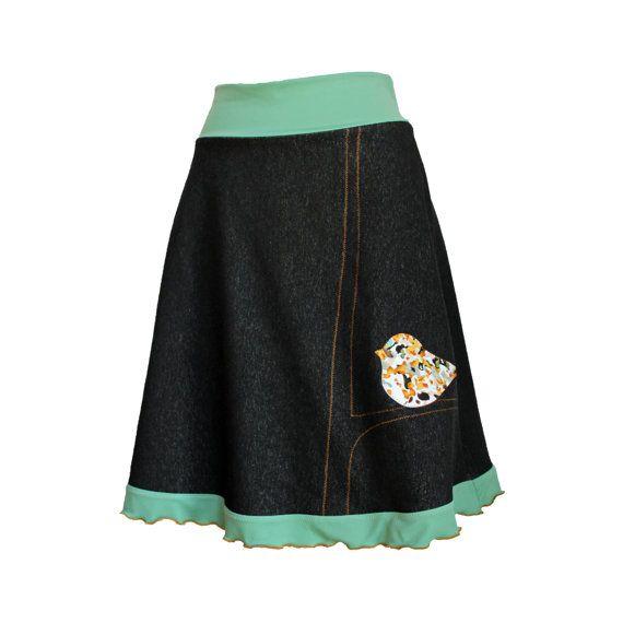 Black Organic Cotton Stretch Knit Denim by Melanie Grace Designs, $140.00