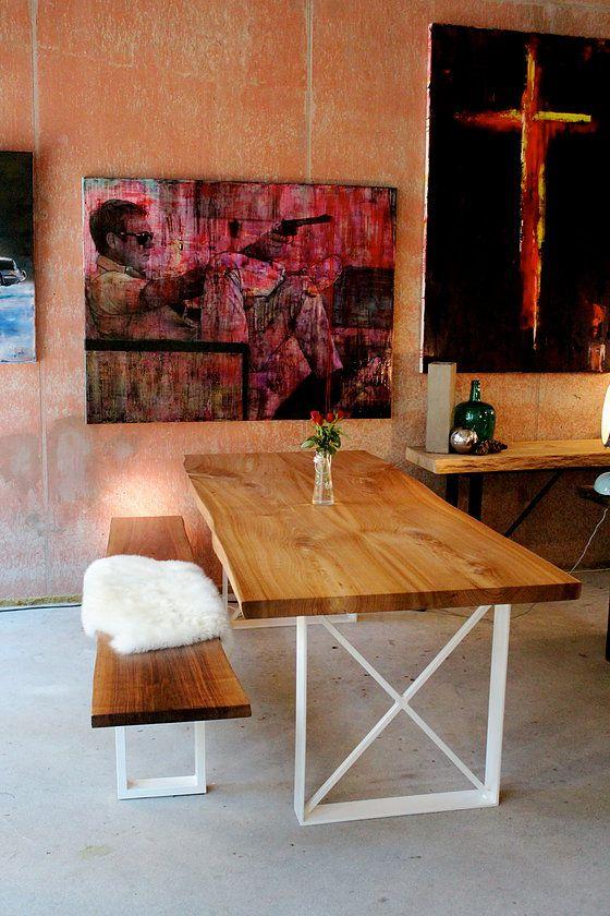 Landhausstil Esstisch mit Bank aus Massivholz nach Maß Holztisch - esstische aus massivholz ideen