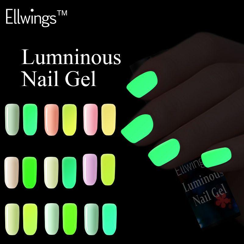 Ellwings 18 colors series of Fluorescent Nail Varnish Luminous Gel ...
