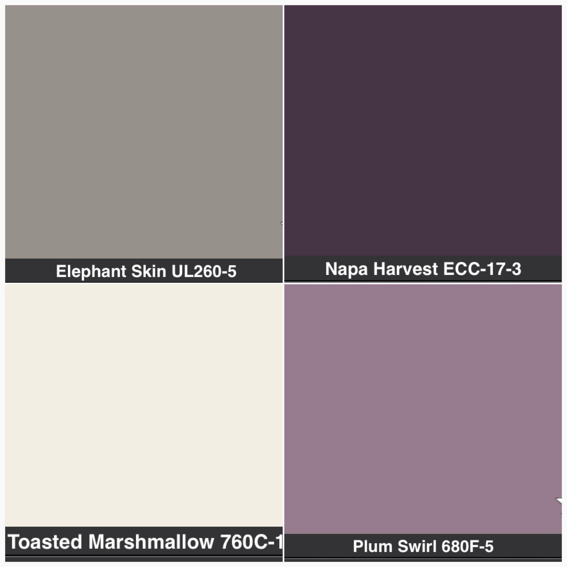 MasterBathroom purple or gray or cream cabinets grey walls with