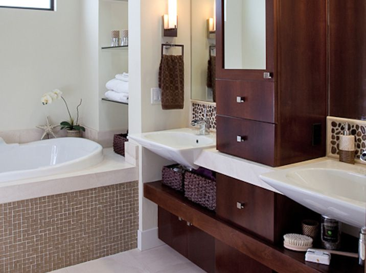 Contemporary Bathroom Cabinets Floating Shelves Upper Tower Built In Vessel Sinks Cut Into