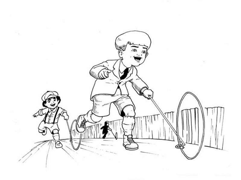 Juego Para Colorear: Dibujo Del Juego Del Aro