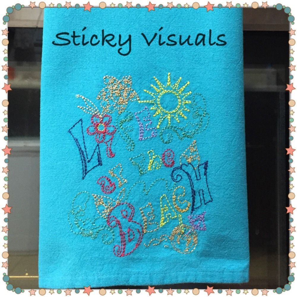 Kitchen Hand Towel Custom Embroidered Life At The Beach Teal New Decorative Hand Towels Linen Hand Towels Hand Towels