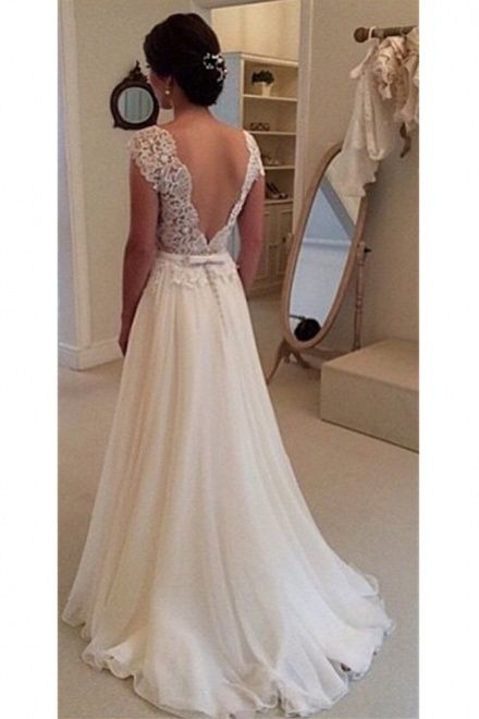 A Line Lace Scalloped Chiffon Open Back Wedding Dress Shedressing