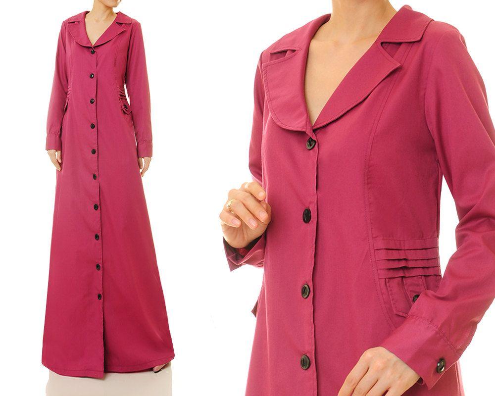 Magenta shirtdress cotton maxi dress abaya long sleeve maxi