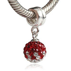 Amazon Com Red And Clear Cz July Birthstone Dangle Authentic 925