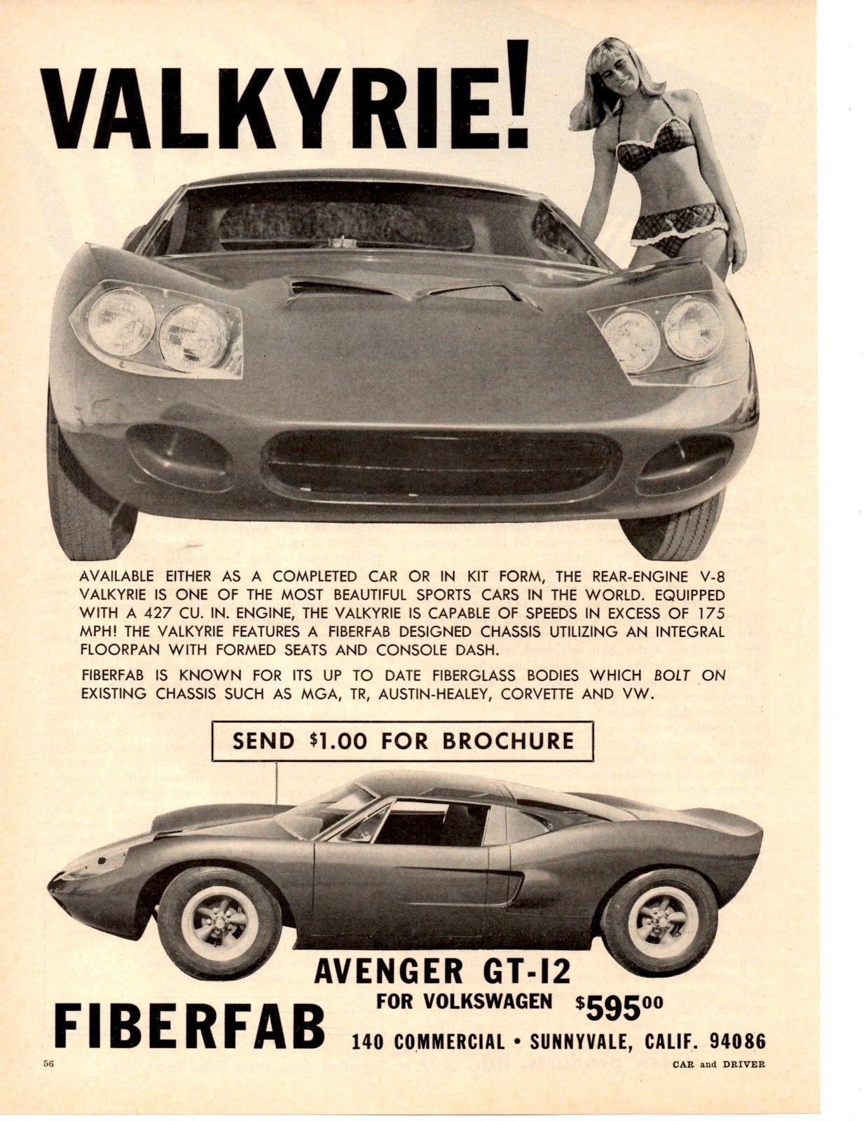 1966 Fiberfab Avenger GT 12 Kit Car Valkyrie 427 CU in RARE Print Ad ...