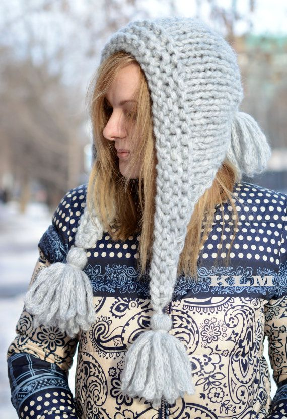 Chunky Knit Hat / Hand Knit Hat-Cowl / Knit Hood Hat / Knitted Women ...