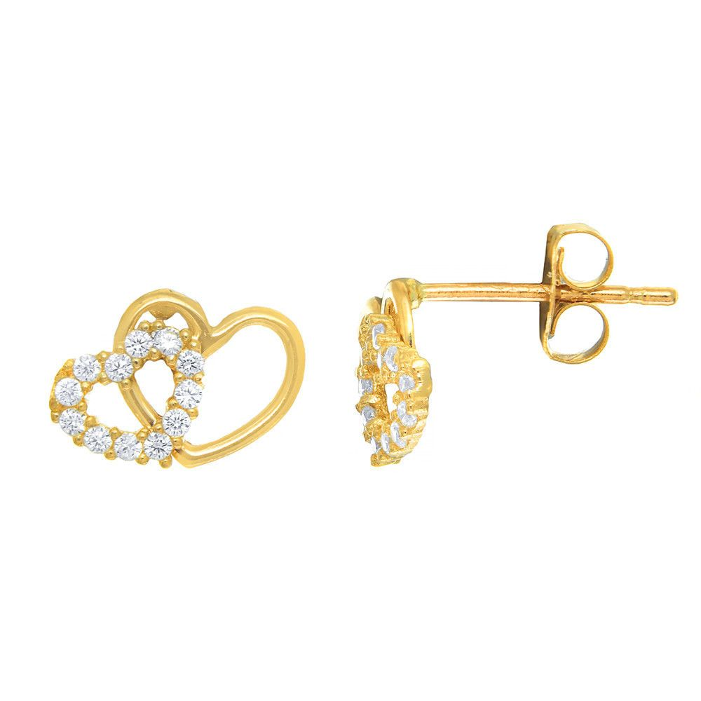 9e4b68614 14K Solid Yellow Gold CZ Double Heart Stud Post Earrings Baby Toddler Kids  Small (eBay Link)