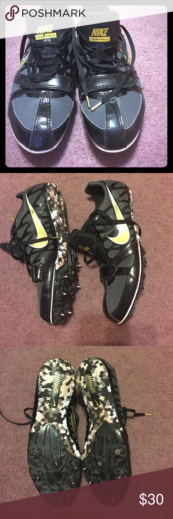 Nike Zoom Rival S Track and Field spikes! Track season is right around the corner!!!!Designed for a sprinter! Super comfortable and great fit! Only wore in 4 meets! Laces are specifically made for this shoe with gold tips! Spikes currently in the shoe are still in great condition!! Nike Shoes Athletic Shoes