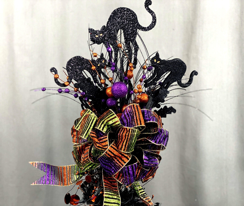 Black Cat Halloween Tree Topper Orange and Purple Tree