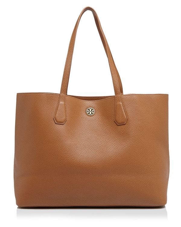tan - grey or maroon Constructed from lightly textured leather with an  understated logo detail, this timeless Tory Burch tote is a true wardrobe  essential.