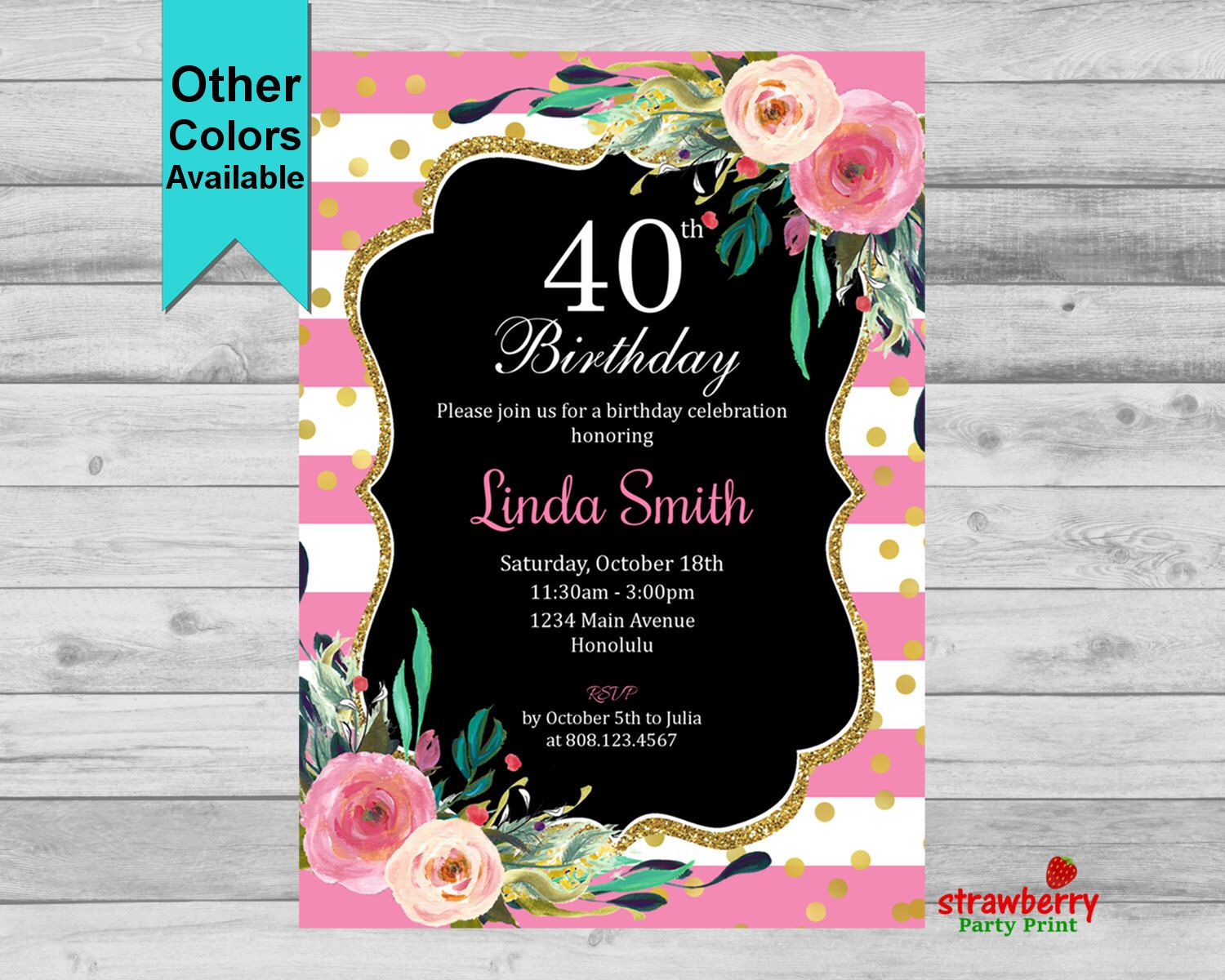 40th birthday invitation for women cheers to 40 years floral 40th birthday invitation for women pink floral invite elegant gold glitter 30th 50th stopboris Images