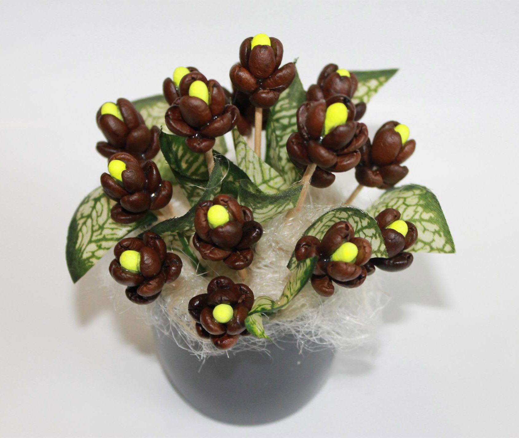 топиарий из кофейных зерен, что символизирует