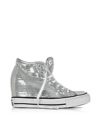 2d66a395c046 Chuck Taylor All Star Mid Lux Sequins Silver Wedge Sneakers - Shoes  Features ✅ Chuck Taylor All Star Mid Lux Sequins Silver Wedge Sneakers  crafted in ...