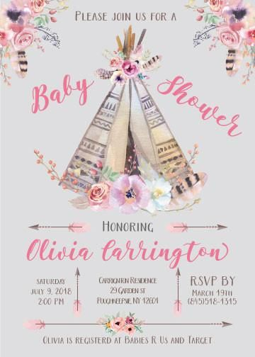 Teepee Baby Shower Invitation Carolina S Baby Shower Pinterest