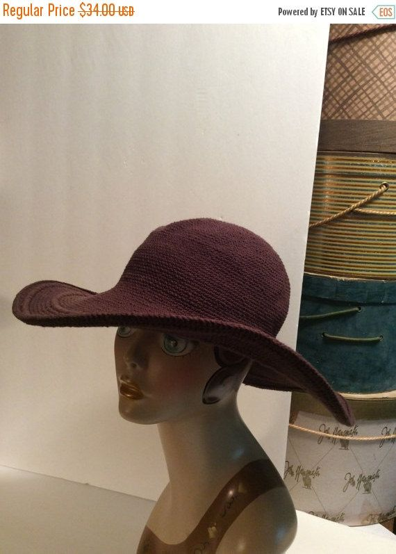 8b2b518ebc2ab 20% OFF SALE Vintage Silver Wave Cloth Knit Chocolate Brown Wide Brim Floppy  Hat