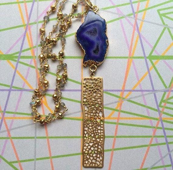 Blue purple agate necklace extra long statement necklace by sparkazilla on etsy www.etsy.com/shop/sparkazilla