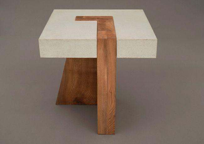 holz beton tisch design idee originell wohnungsfundst cke pinterest m bel tisch und holz. Black Bedroom Furniture Sets. Home Design Ideas
