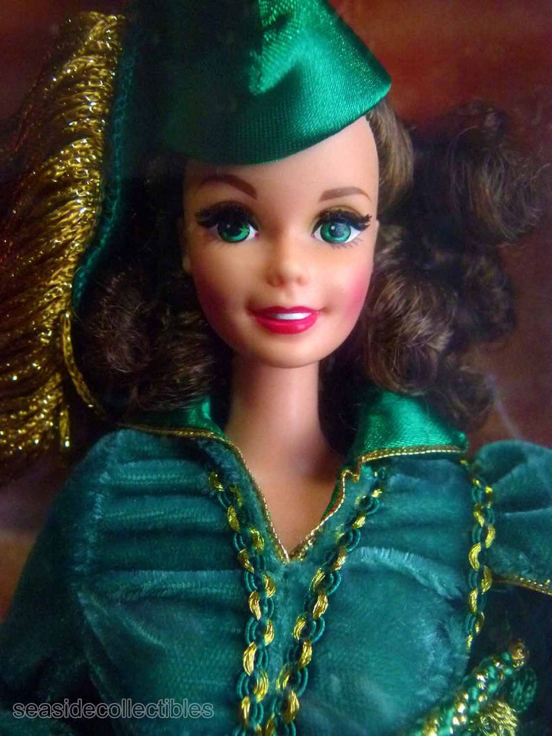 Gone With The Wind Mattel Barbie as Scarlett O'Hara in Green Velvet Drapery Gown MIB Hollywood Legends Collection Vintage 1994 #hollywoodlegends