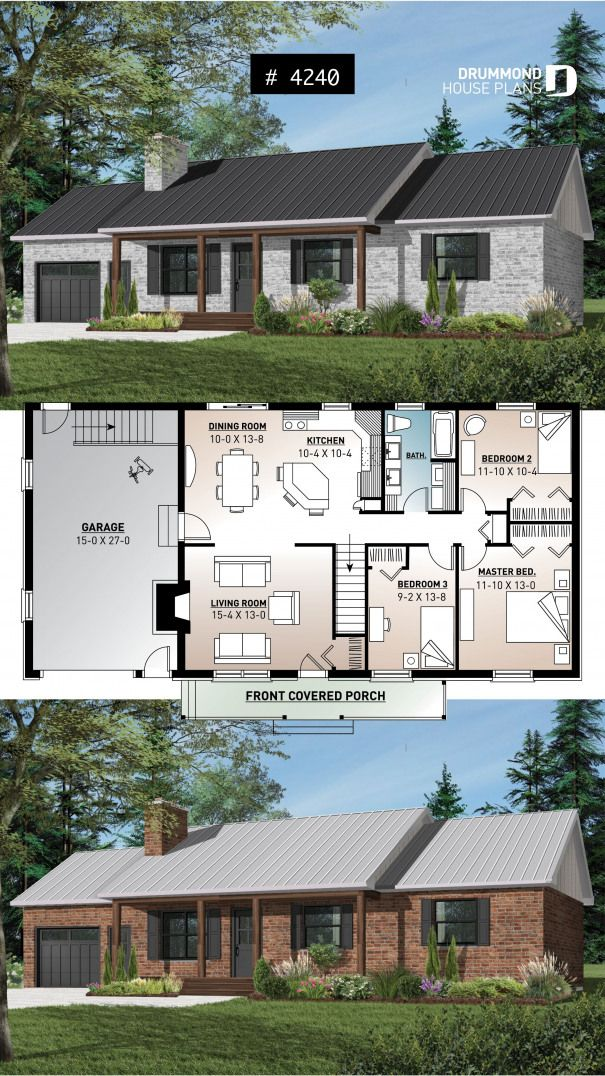 Affordable 3 Bedroom Bungalow House Plan With Kitchen Island And Garage Prairie Style Can Bungalow House Plans Traditional House Plans House Plans Farmhouse