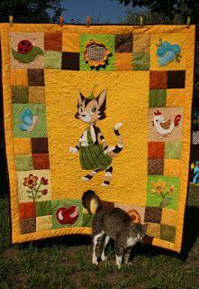 Szilvi foltvarró blogja  Applikált patchwork takaró Findus cicával - összeá. 0f56879f12