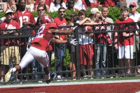 C. Jones' catch for a TD, A-Day 2012.