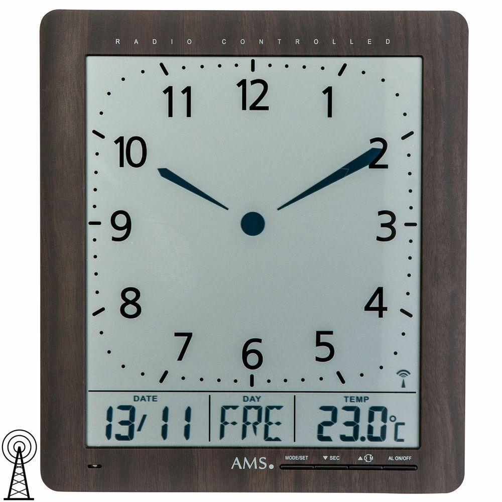 Ams 5893 Wanduhr Tischuhr Funk Digital Schwarz Datum Thermometer Weckfunktion