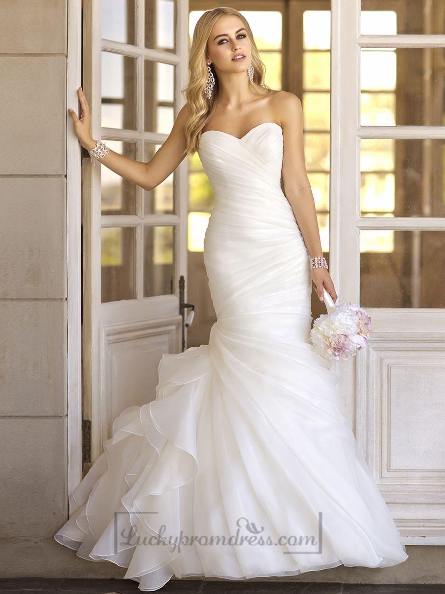 Trumpet asymmetrical pleated bodice sweetheart vintage wedding