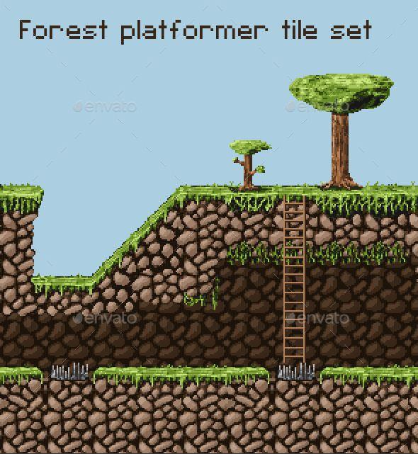 pixel art tile set for a jungle forest themed platformer each