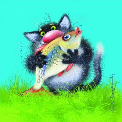 Рисунками, открытка с днем рождения кот и рыба