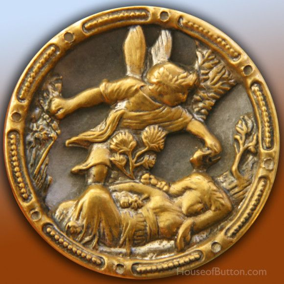 Oberon & Titania -- A 19th C. brass pictorial of Oberon anointing the sleeping Titania with the juice of a magic flower