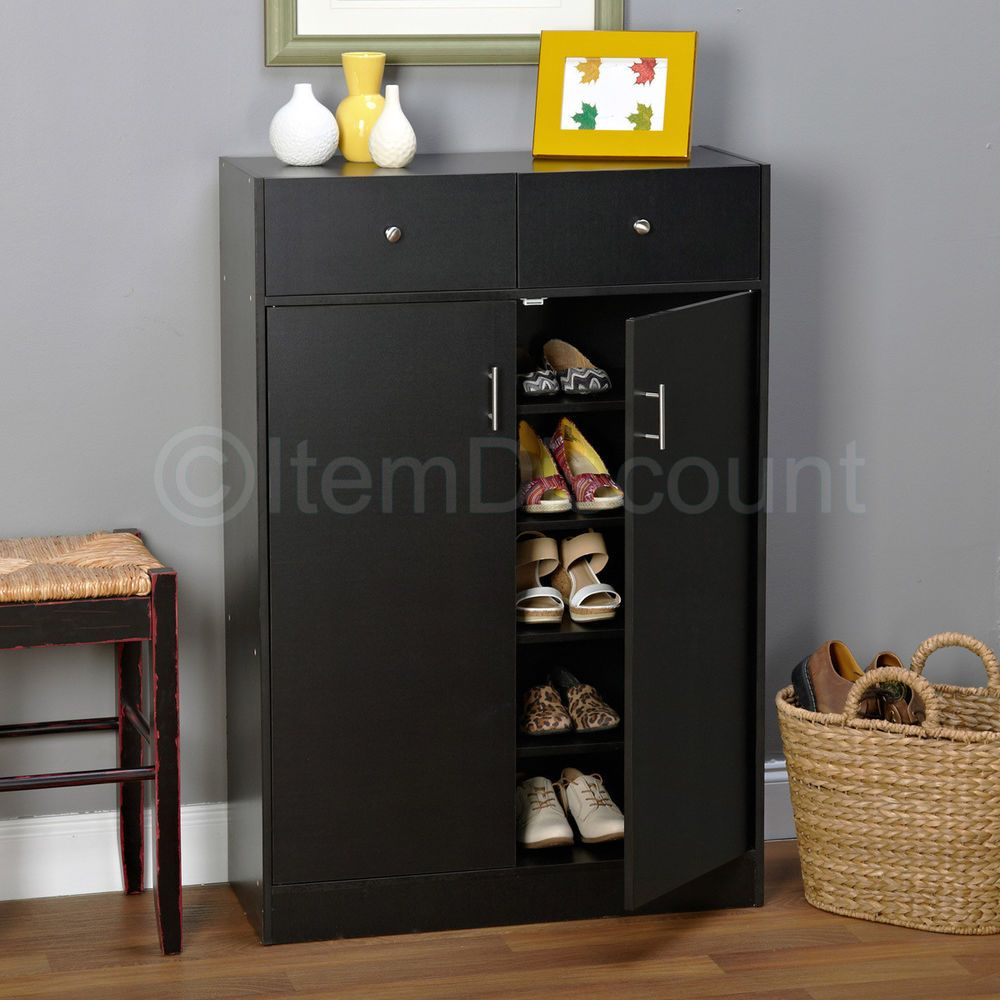20 Pair Black Shoe Cabinet Rack Storage 5 Shelf 2 Dresser Drawers Doors  Entryway