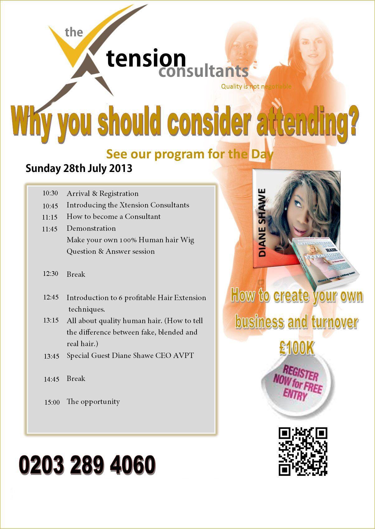 Agenda for careers in hair extensions event in birmingham