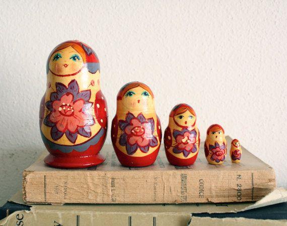 Russian handpainted vintage matrioshka  vintage home by gretaloves, $19.50