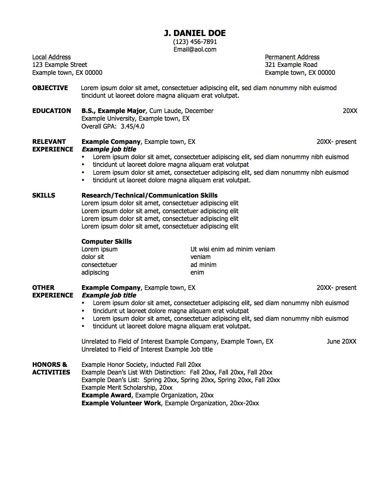 Example of resume for a job