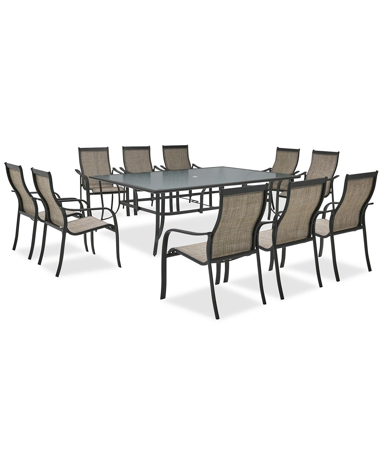 Furniture Reyna Outdoor Aluminum 11 Pc Dining Set 84 X 60 Dining Table And 10 Dining Chairs Created For Macy S Glass Table Set Dining Table Dining Set