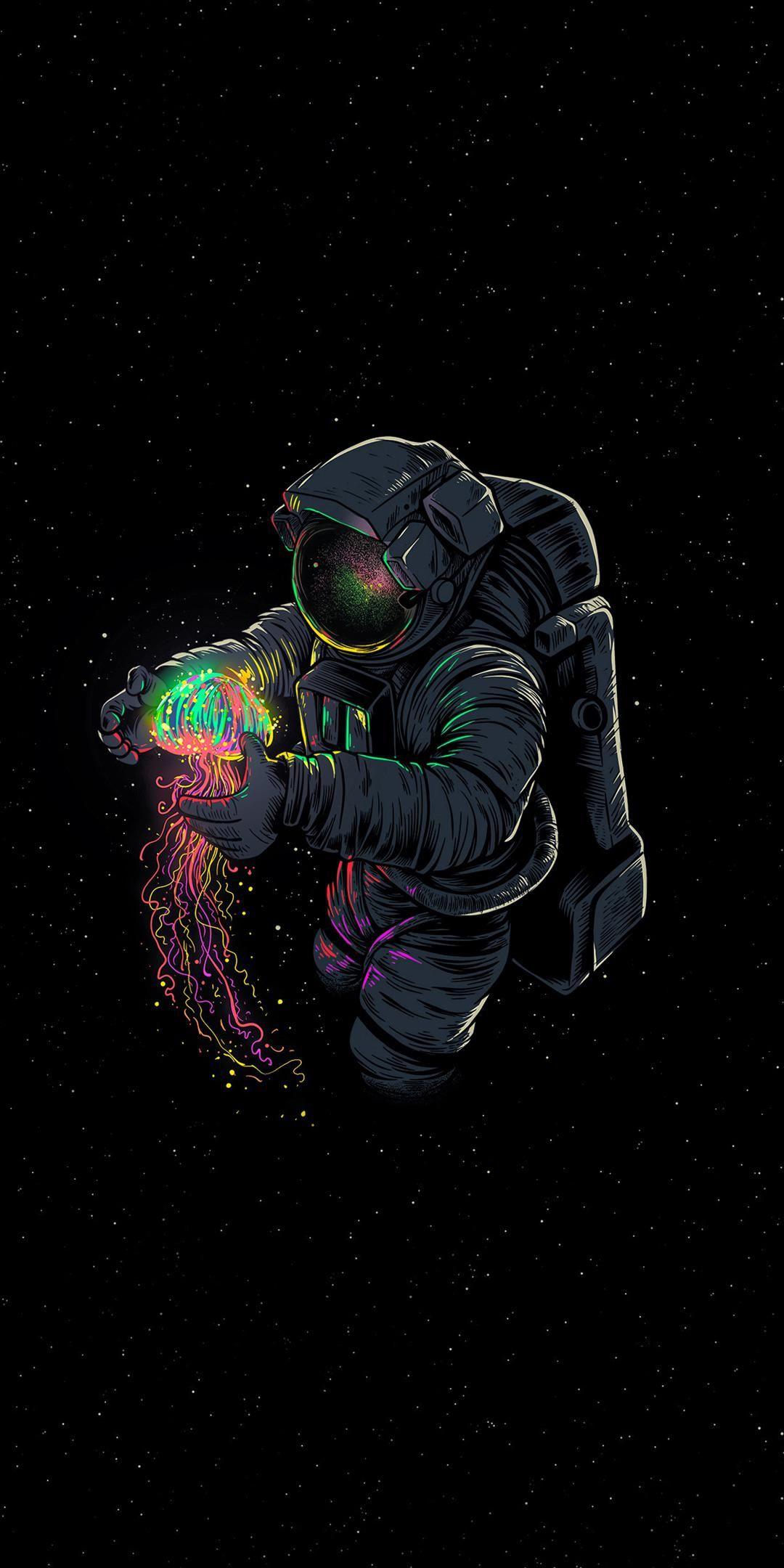 Neon Space Papel De Parede De Astronauta Papel De Parede Com Fundo Preto Papel De Parede Wallpaper