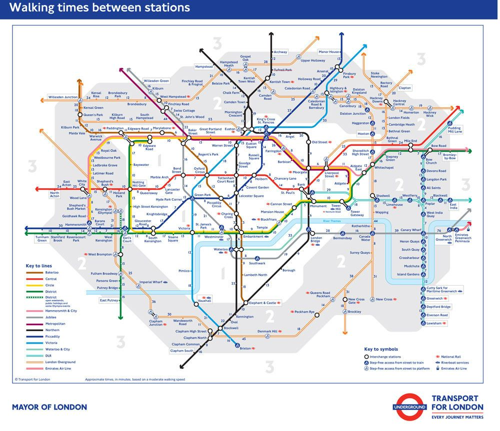 tube walking map london underground reveals official times between every station