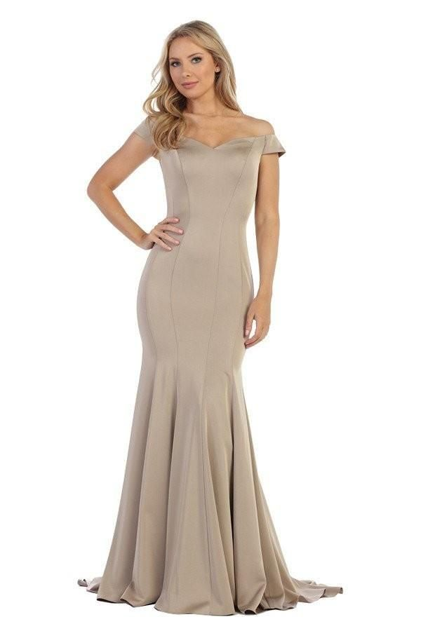 Long Taupe Bridesmaid dress Off the Shoulder mermaid Evening Gown 10 ...