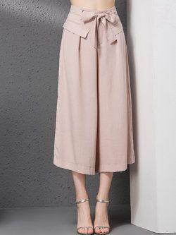 Pockets Casual Cotton-Linen Plain #Wide #Leg #Pants with Belt