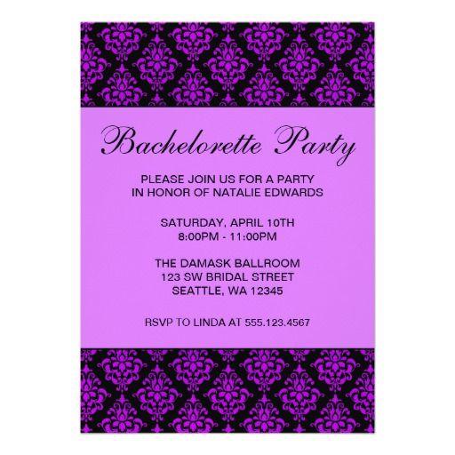 Purple and Black Damask Bachelorette Party