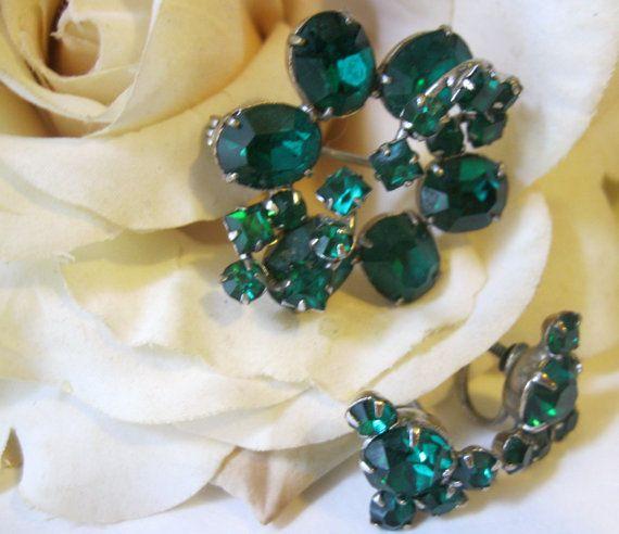 Vintage Emerald Green Rhinestone Brooch & Earrings. $38.00, via Etsy.