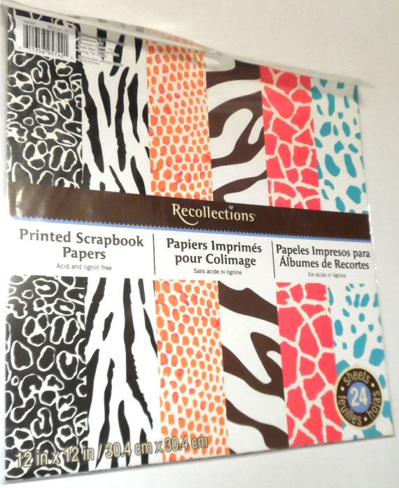 Recollections Scrapbook Paper Pack 12 X 12 Animal Zoo Print Crafting