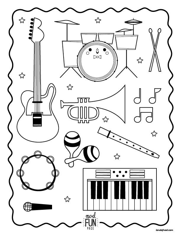 nod printable coloring page instruments for musical kiddos instruments music class and school. Black Bedroom Furniture Sets. Home Design Ideas